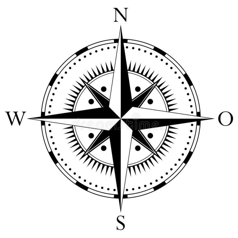 Лимб картушки компаса для морской или морской навигации и также для включения в картах на изолированной белой предпосылке как век иллюстрация штока