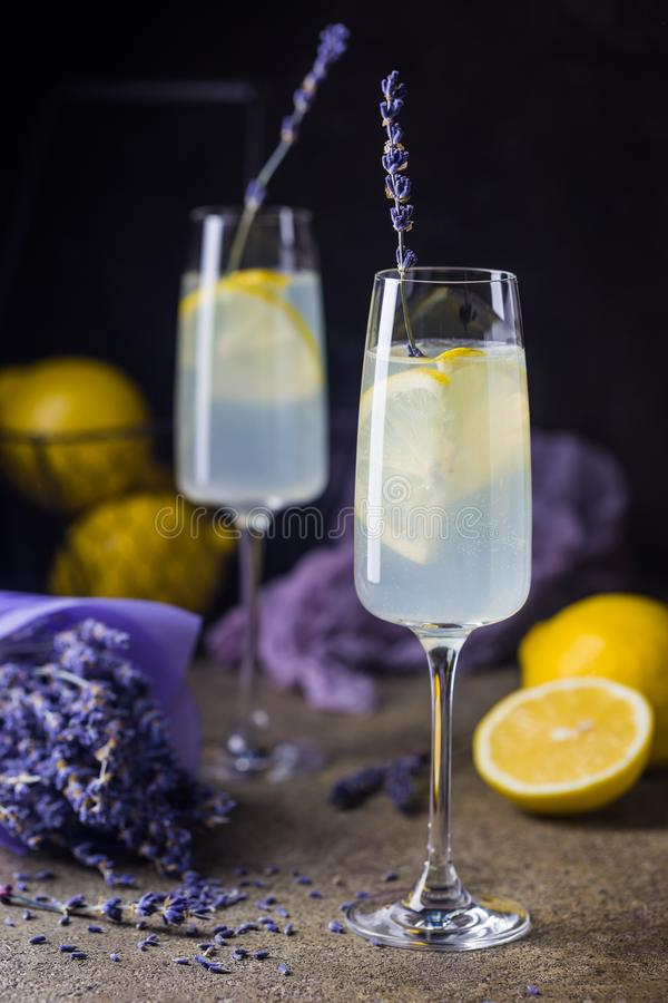 Лимонад с лимонами и лавандой стоковые фотографии rf