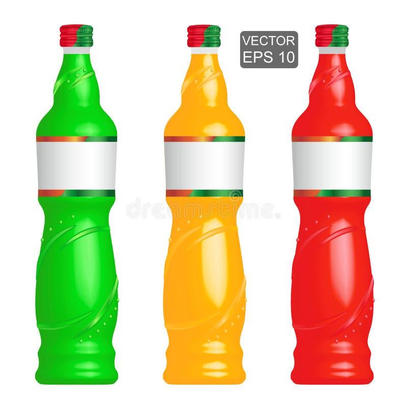 Лимонад разливает шаблон по бутылкам иллюстрация штока