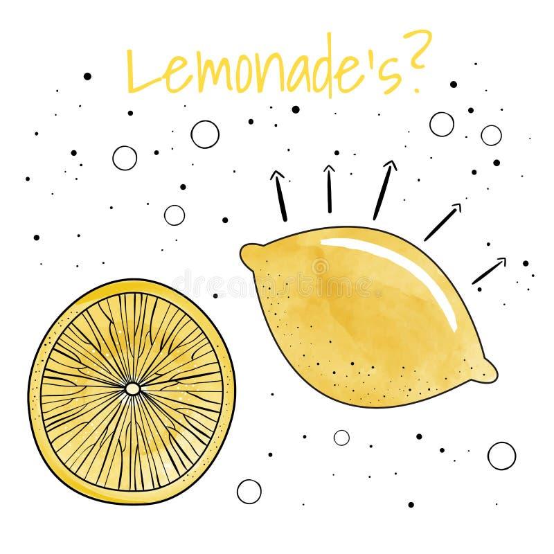Лимон акварели также вектор иллюстрации притяжки corel иллюстрация штока