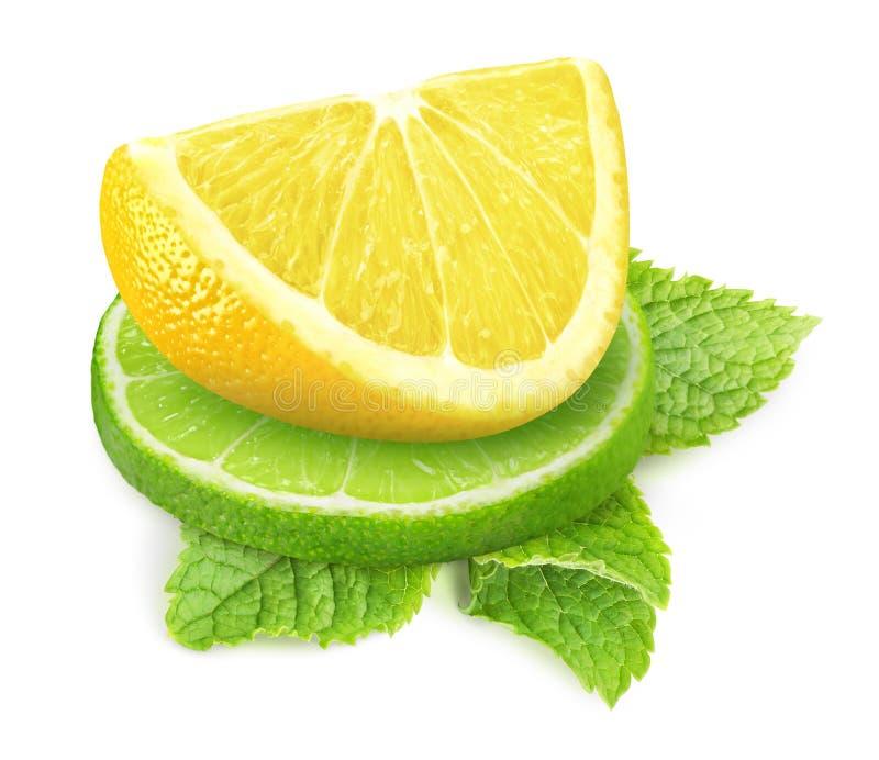 Лимон, известка и мята стоковое фото rf