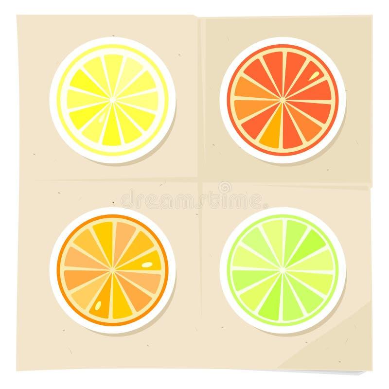 Лимон, известка, оранжевые куски на предпосылке бирюзы Жизнерадостный усмехаясь цитрус o r иллюстрация вектора