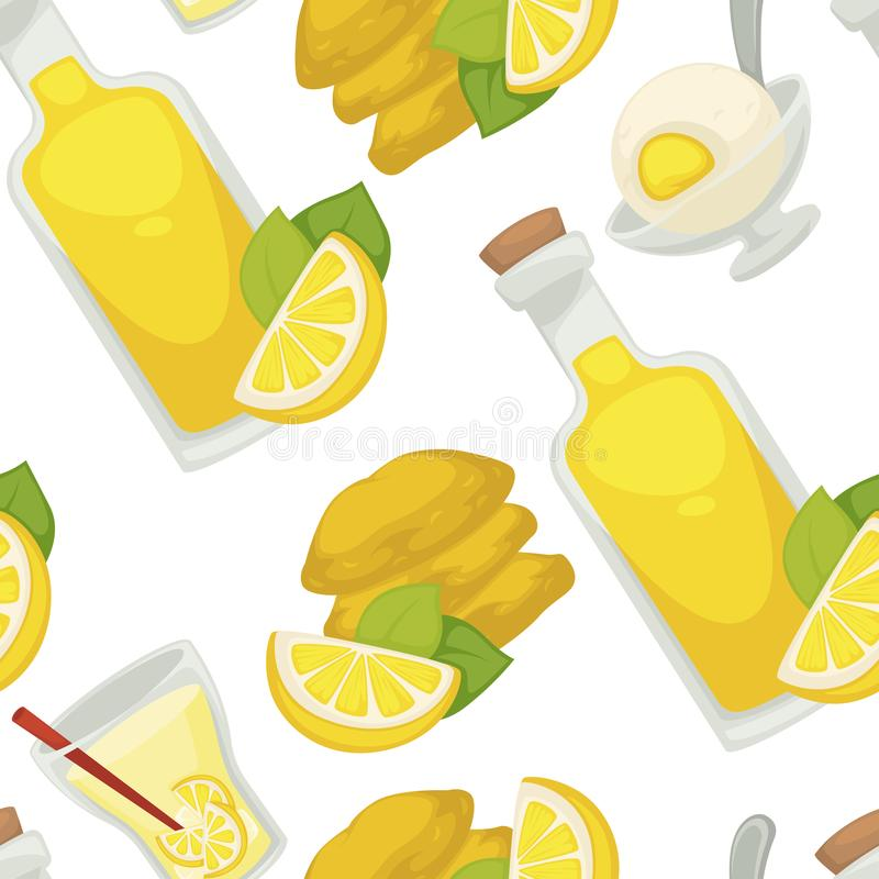 Лимон и лимонад, масло в картине стеклянной бутылки безшовной иллюстрация вектора