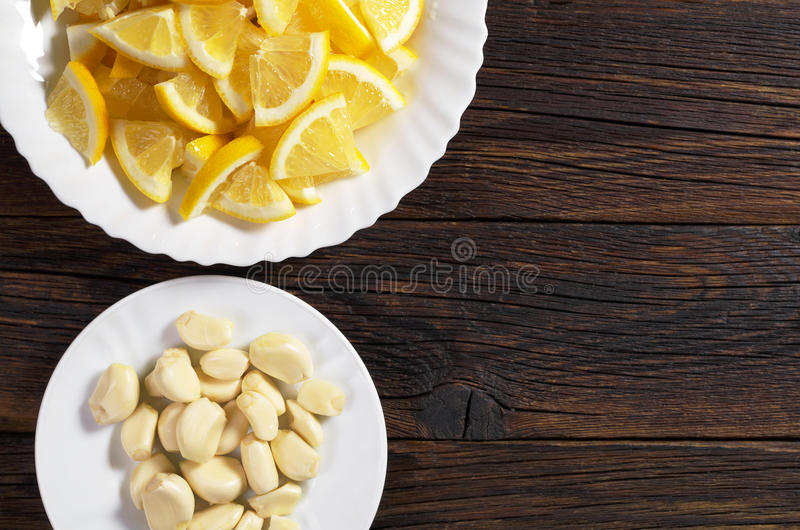 Лимон и чеснок стоковое фото rf