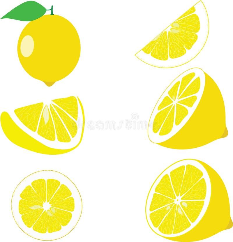 Лимон, куски лимона, комплект лимонов стоковое фото rf