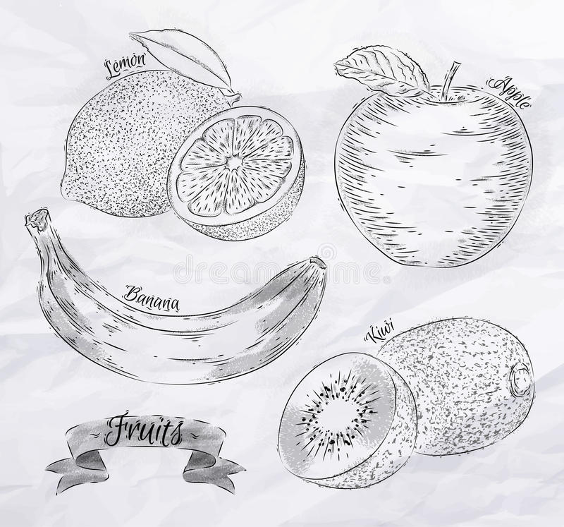 Лимон плодоовощ, яблоко, банан, год сбора винограда кивиа иллюстрация вектора
