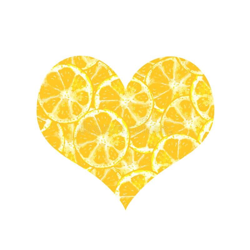 Лимон сердца иллюстрация вектора