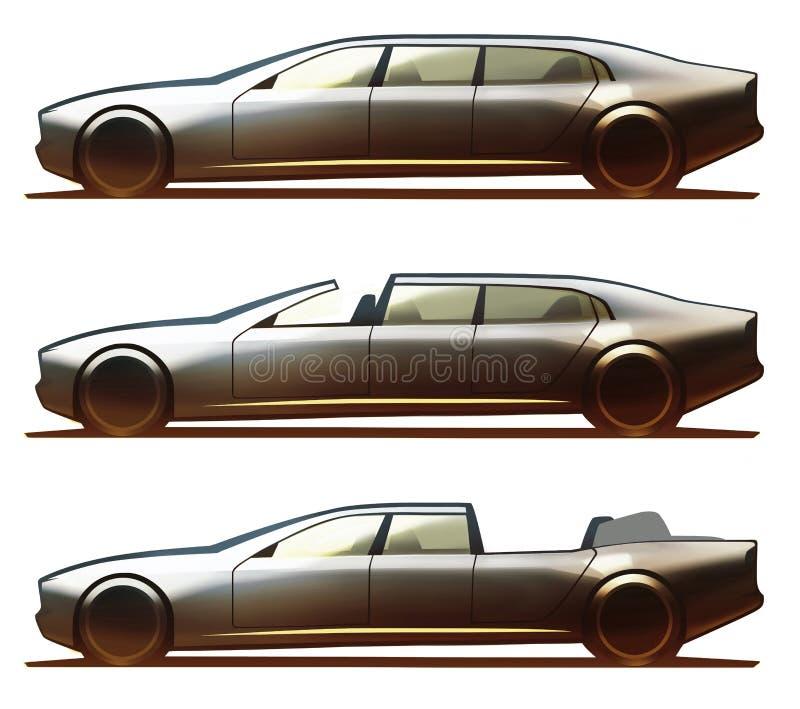 Лимузин, Brougham и Landualet тела автомобиля иллюстрация штока