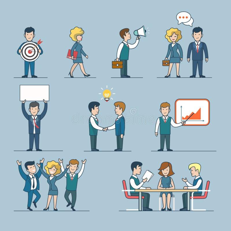 Линейная линия вектор шаблона бизнесмена людей искусства иллюстрация штока