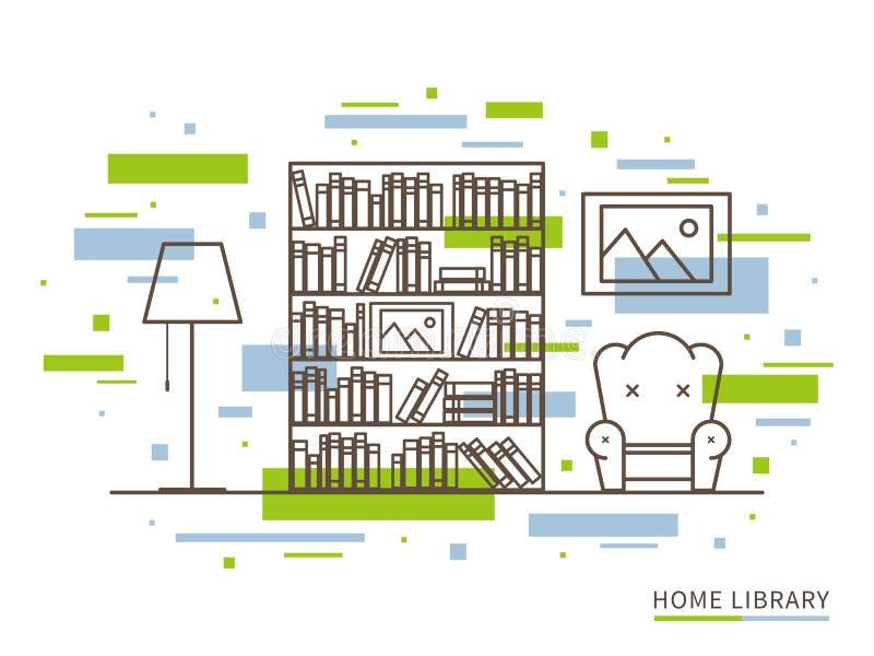 Линейная иллюстрация современного дизайнерского космоса интерьера домашней библиотеки бесплатная иллюстрация