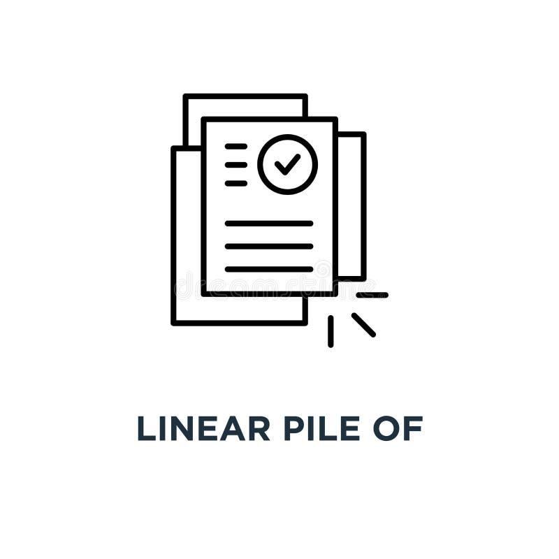 линейная куча значка документов лицензии или контракта, конструктивной схемы графического дизайна искусства исследования тенденци иллюстрация вектора