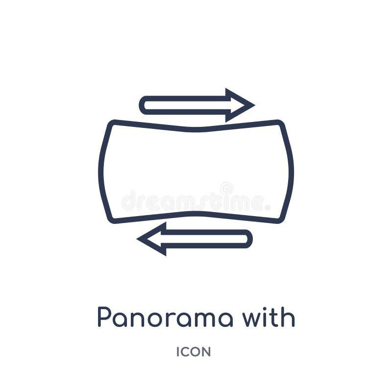 Линейная панорама со значком клавиши правой стрелки от электронного собрания плана заполнения вещества Тонкая линия панорама с ве иллюстрация штока