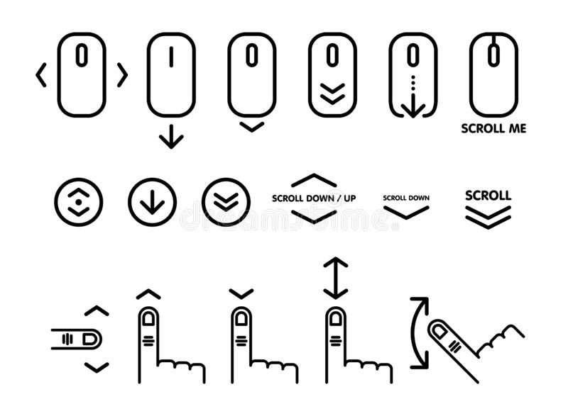 Линейная пиктограмма переченя вниз Перечислите вниз вверх по значку мыши компьютера для вебсайта, веб-дизайна, мобильных приложен бесплатная иллюстрация