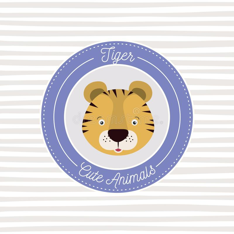 Линейная предпосылка с рамкой цвета декоративной и животные тигра стороны милые отправляют СМС иллюстрация штока