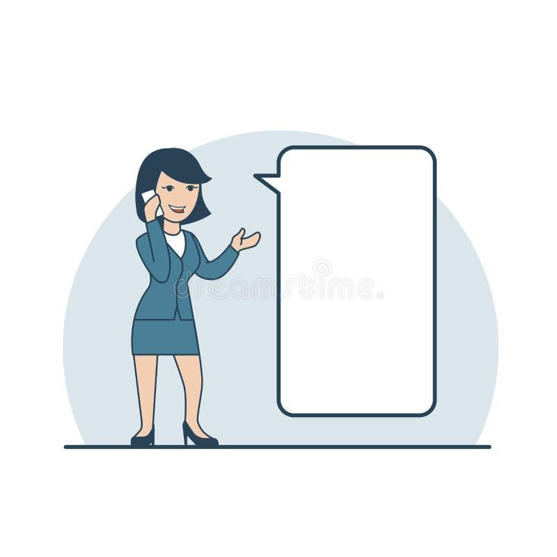 Линейная плоская бизнес-леди звоня телефонный звонок бесплатная иллюстрация