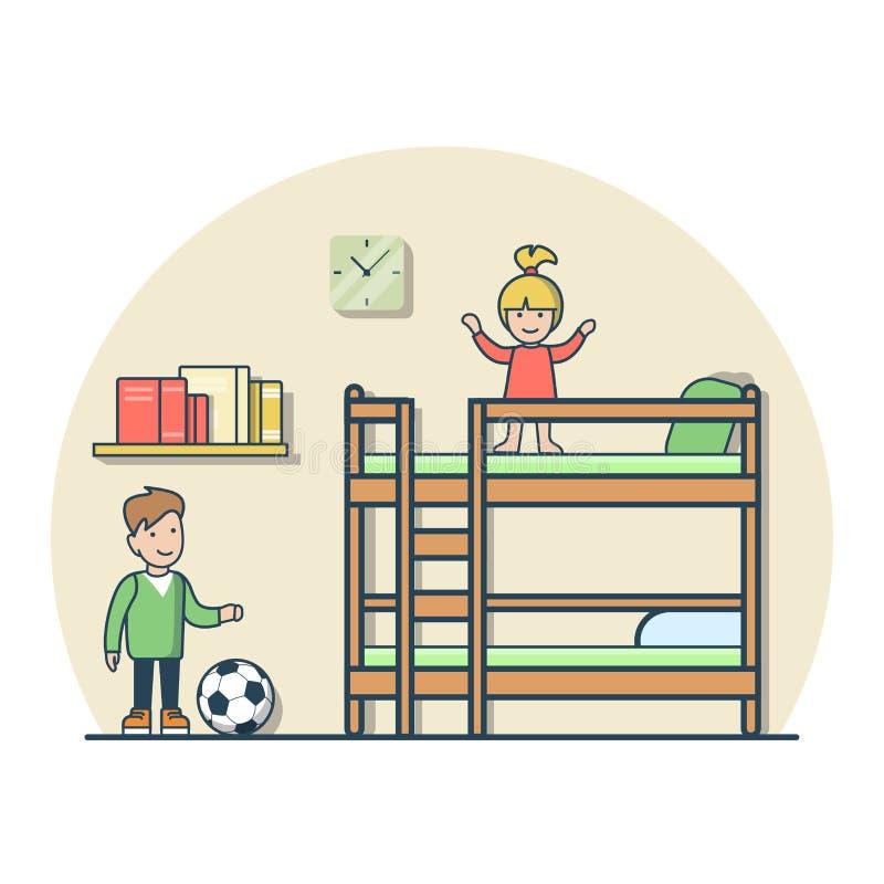 Линейная плоская девушка мальчика играя мальчика вектора комнаты ребенк иллюстрация вектора