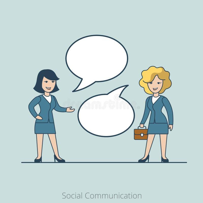 Линейная плоская социальная бизнес-леди связи иллюстрация штока