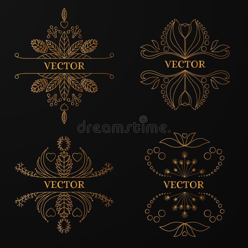 Линейная рамка золота на черной предпосылке Роскошный ornamental иллюстрация вектора