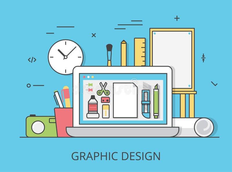 Линейное плоское искусство вебсайта графического дизайна оборудует вектор иллюстрация штока