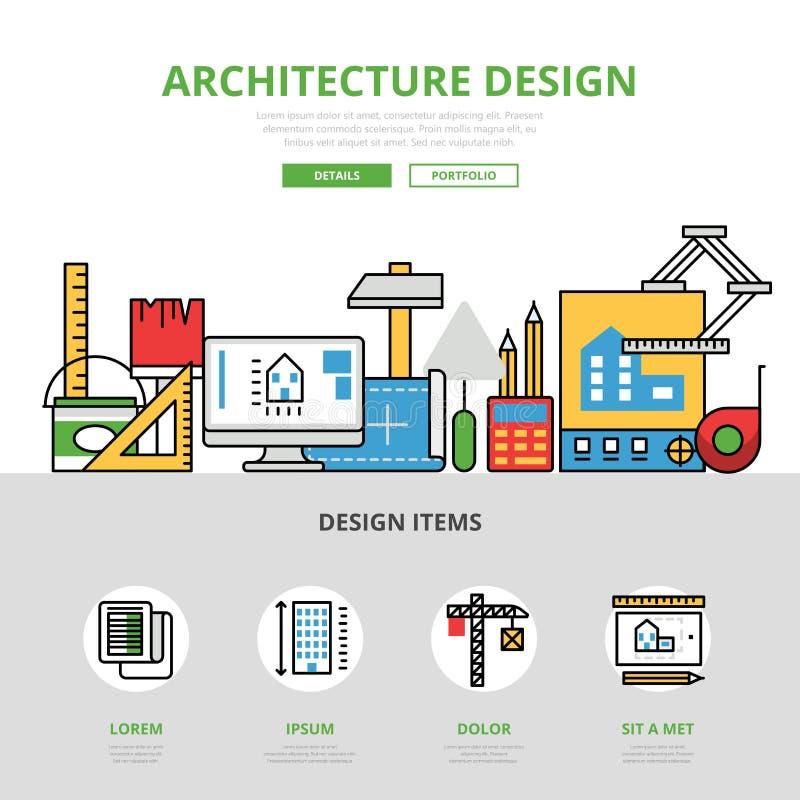 Линейное плоское infographics Desi архитектуры иллюстрация вектора