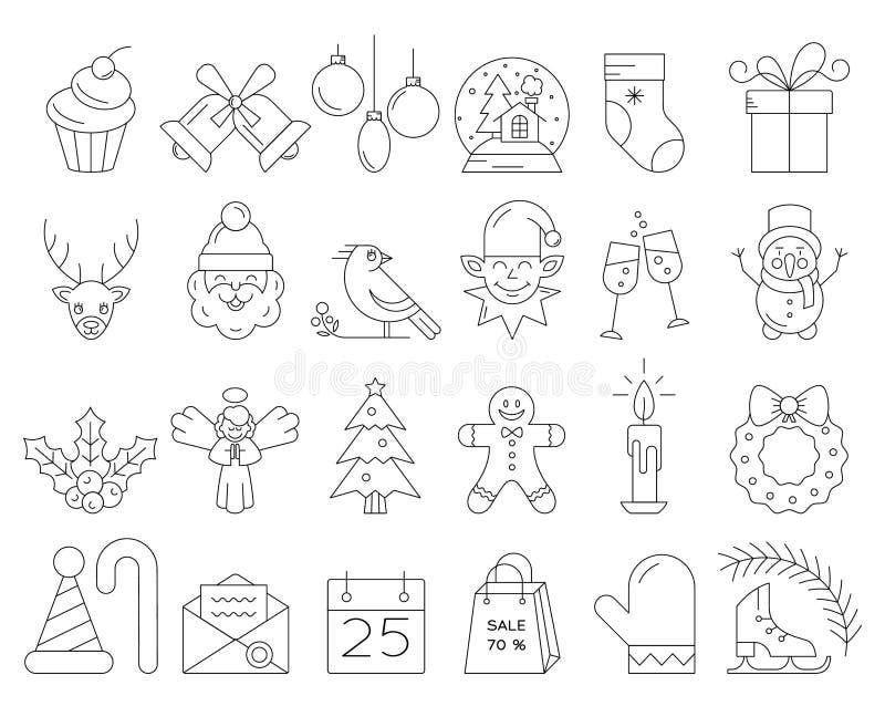 Линейное собрание значков рождества бесплатная иллюстрация