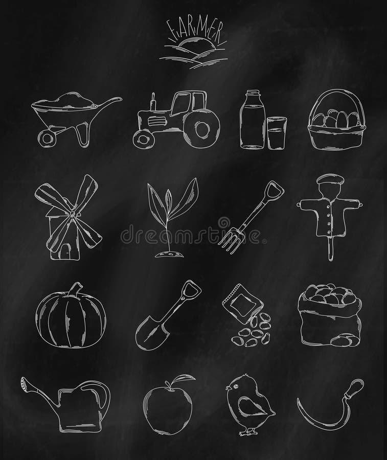 Линейной значки нарисованные рукой на доске мела Аксессуары имеемые фермером или agronomist вектор иллюстрация вектора
