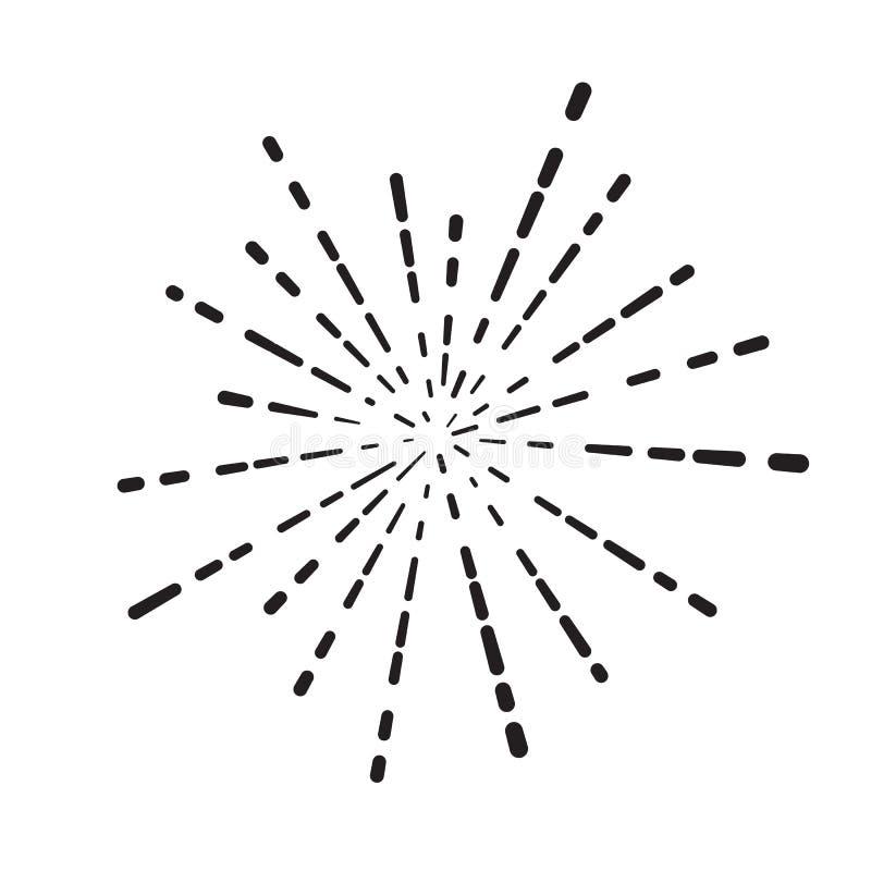 линейные лучи иллюстрации фейерверка, вспышки или солнца на белом ба иллюстрация вектора