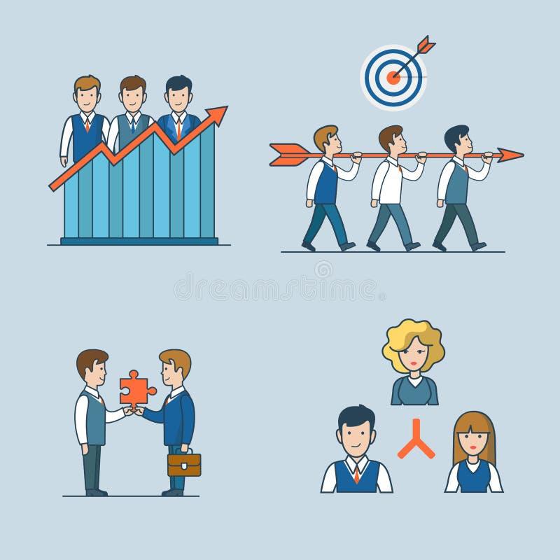 Линейные плоские концепции искусства бизнесмены vecto значка иллюстрация штока