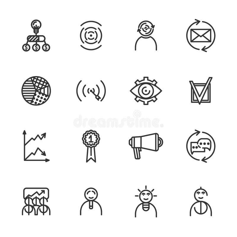 Линейные startup установленные значки Всеобщий startup значок, который нужно использовать в сети и передвижном UI Startup основно бесплатная иллюстрация