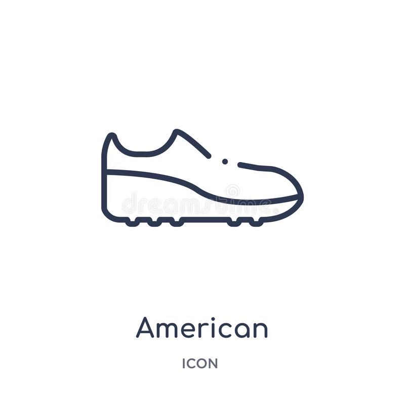 Линейный значок ботинка американского футбола черный от собрания плана американского футбола Тонкая линия вектор ботинка черноты  иллюстрация штока