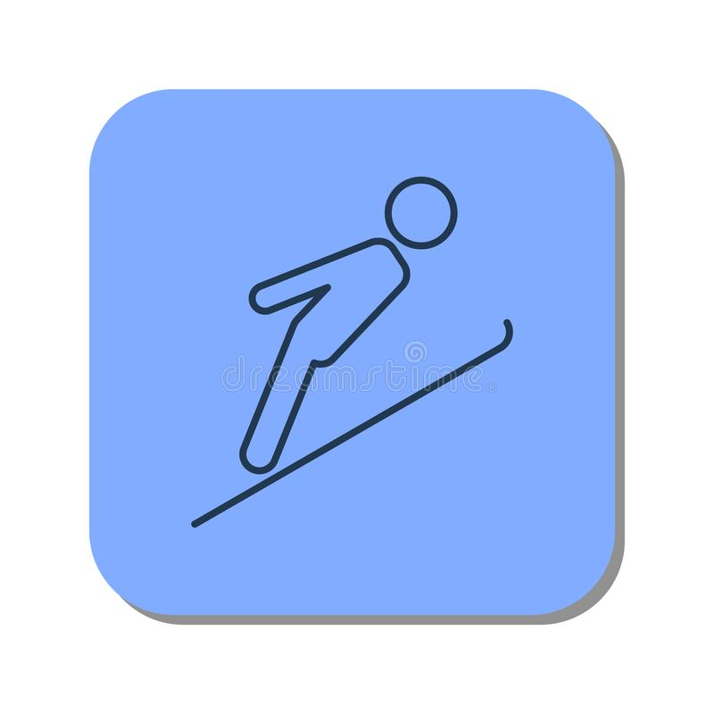 Линейный значок лыжника скача от трамплина иллюстрация штока