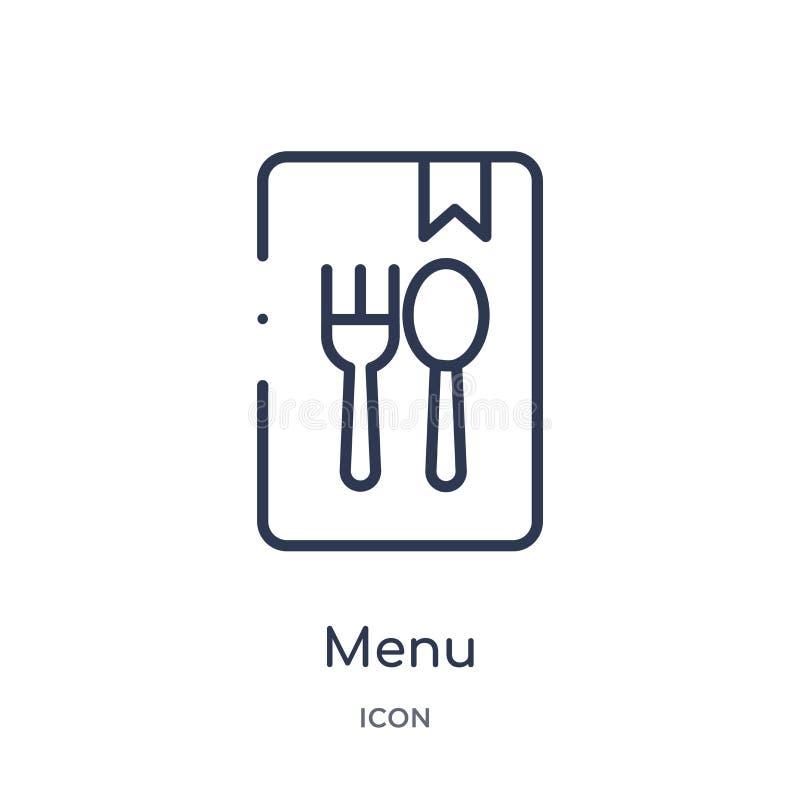 Линейный значок меню от собрания плана гостиницы Тонкая линия значок меню изолированный на белой предпосылке иллюстрация меню уль бесплатная иллюстрация