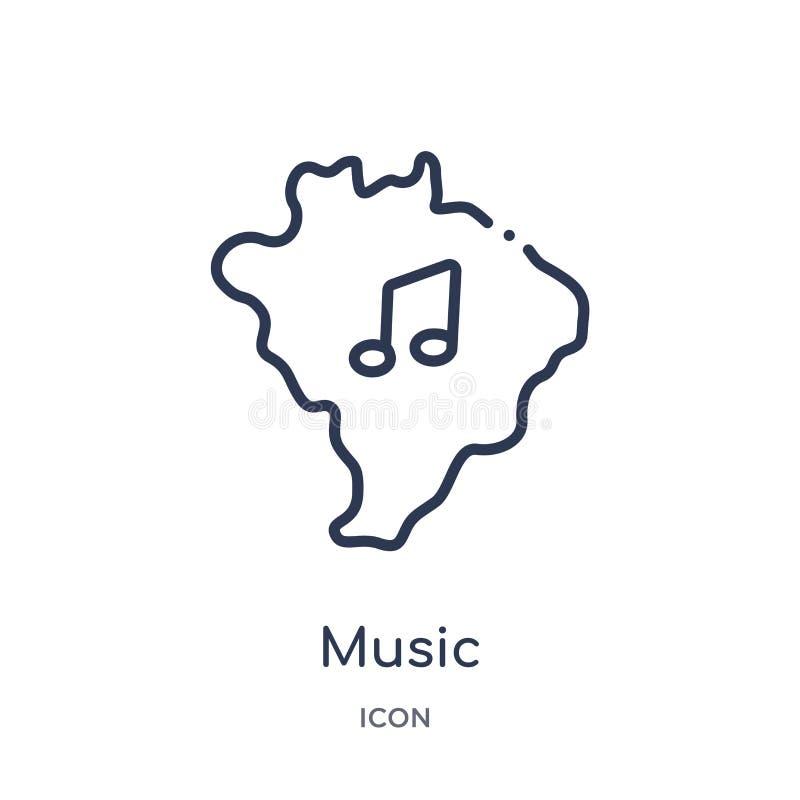 Линейный значок музыки от собрания плана Brazilia Тонкая линия вектор музыки изолированный на белой предпосылке иллюстрация музык иллюстрация штока