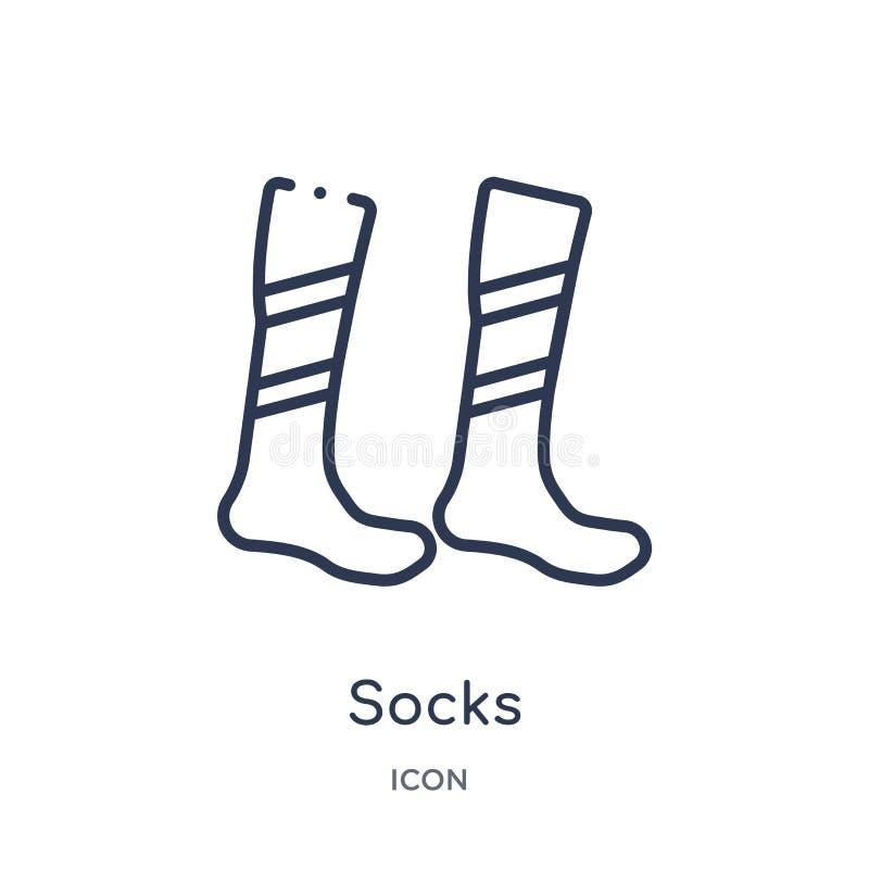 Линейный значок носков от собрания плана футбола Тонкая линия вектор носков изолированный на белой предпосылке иллюстрация носков иллюстрация вектора
