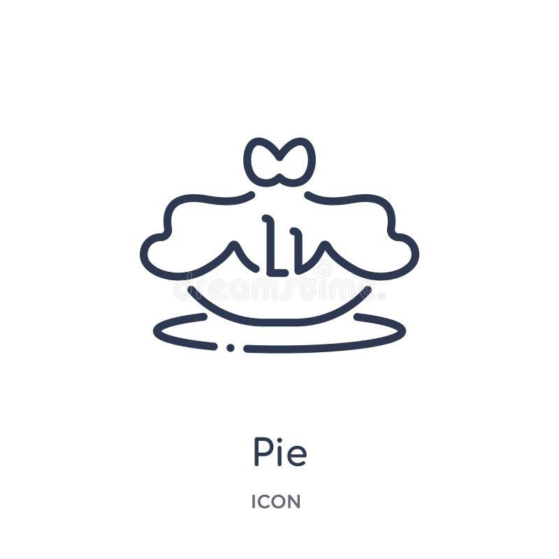 Линейный значок пирога от собрания плана гастрономии Тонкая линия значок пирога изолированный на белой предпосылке иллюстрация пи иллюстрация штока