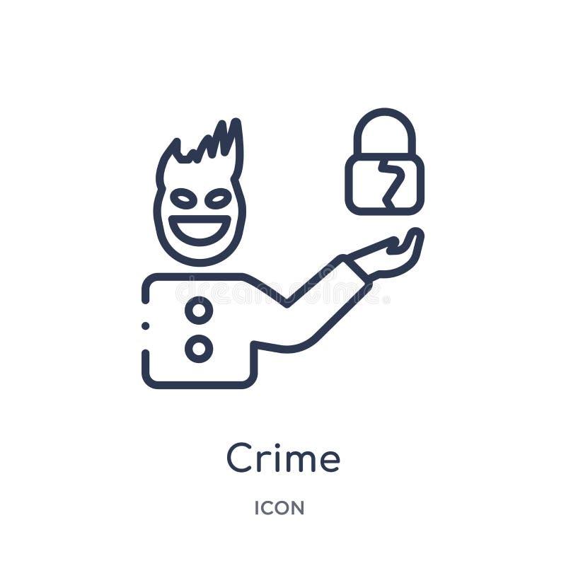 Линейный значок преступления от собрания плана кибер Тонкая линия вектор преступления изолированный на белой предпосылке иллюстра иллюстрация штока