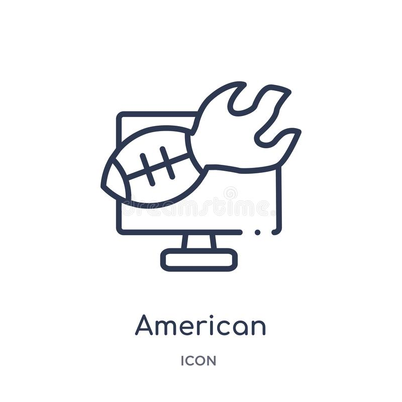 Линейный значок приписки американского футбола от собрания плана американского футбола Тонкая линия вектор приписки американского иллюстрация штока