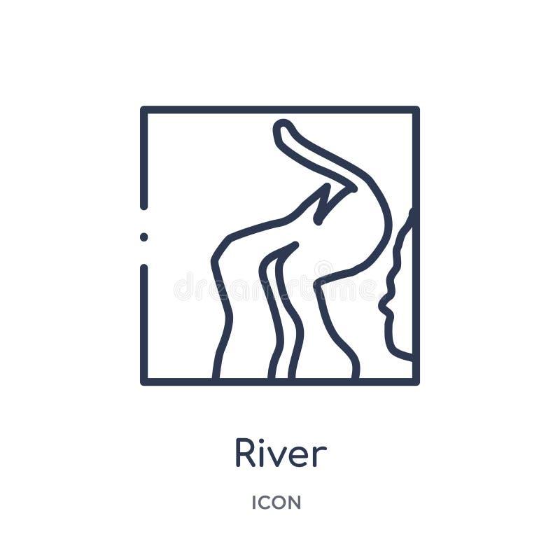 Линейный значок реки от собрания плана Африки Тонкая линия вектор реки изолированный на белой предпосылке иллюстрация реки ультра иллюстрация вектора