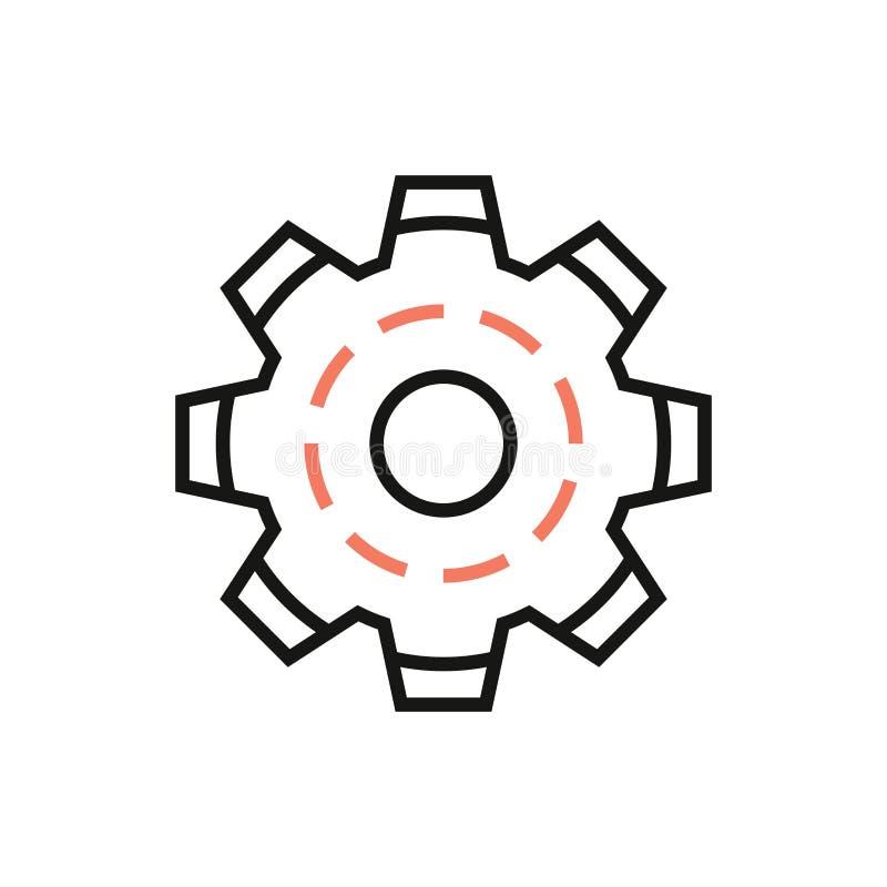 Линейный значок установок с изображением линии знака колеса шестерни иллюстрация вектора