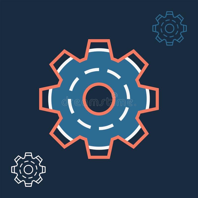 Линейный значок установок с изображением линии знака колеса шестерни иллюстрация штока