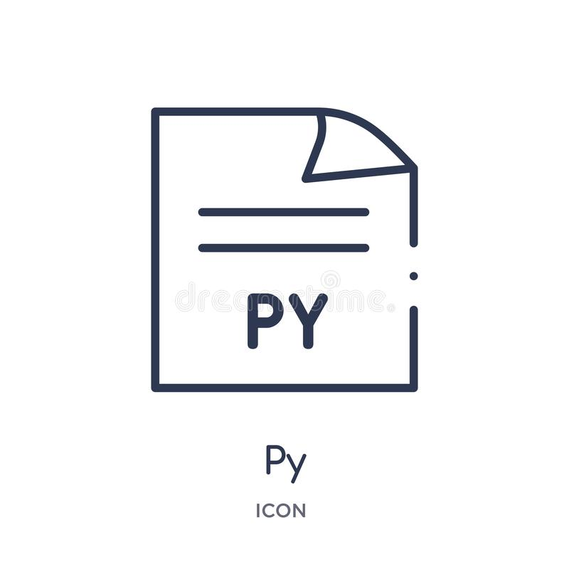 Линейный значок py от собрания плана типа файла Тонкая линия вектор py изолированный на белой предпосылке иллюстрация py ультрамо иллюстрация вектора