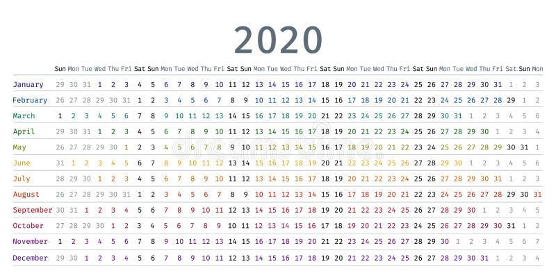 Линейный календарь 2020 r Плановик дневника шаблона иллюстрация штока