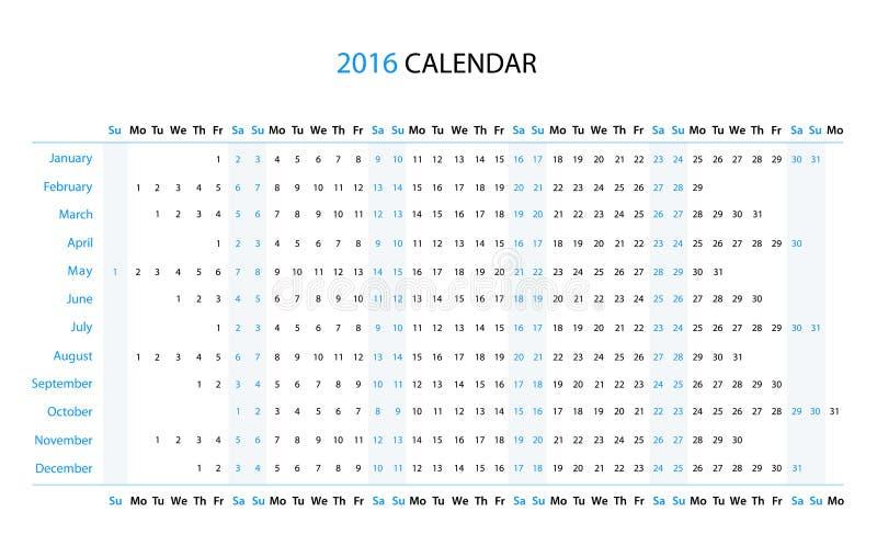 Линейный календарь 2016 иллюстрация вектора
