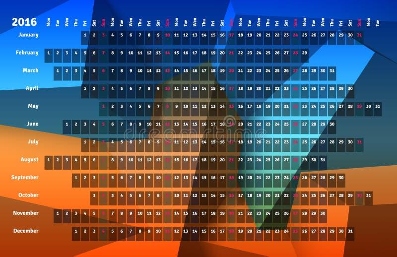 Линейный календарь 2016 иллюстрация штока