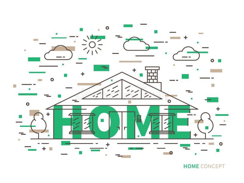 Линейный коттедж дома, иллюстрация особняка плоская бесплатная иллюстрация