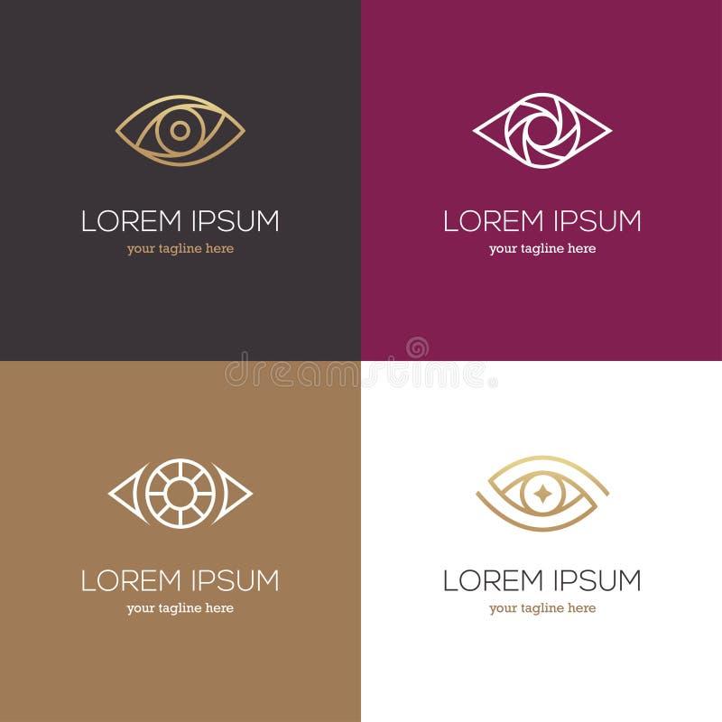 Линейный логотип глаза 4 иллюстрация вектора