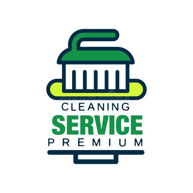 Линейный логотип для очищая агенства с щеткой Профессиональная помощь уборщика для домоустройства Наградные качественные сервисы  бесплатная иллюстрация