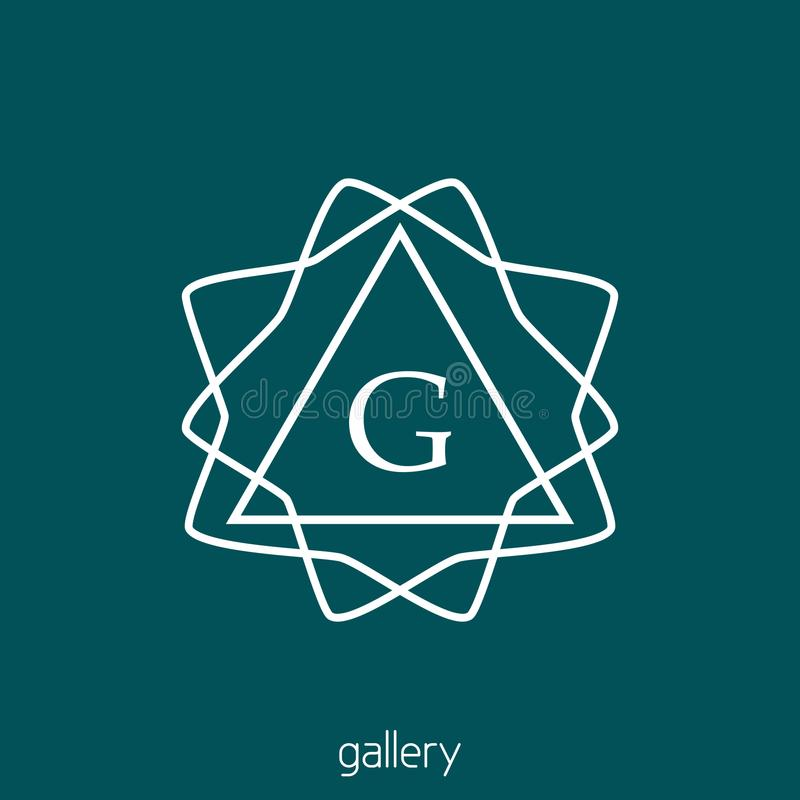 Линейный логотип с письмом g Вензель битника иллюстрация штока