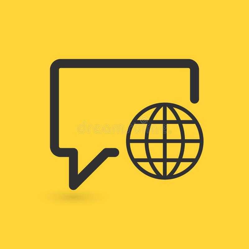 Линейный пузырь болтовни со значком глобуса принципиальная схема цифрово произвела высокий social res сети изображения Иллюстраци бесплатная иллюстрация