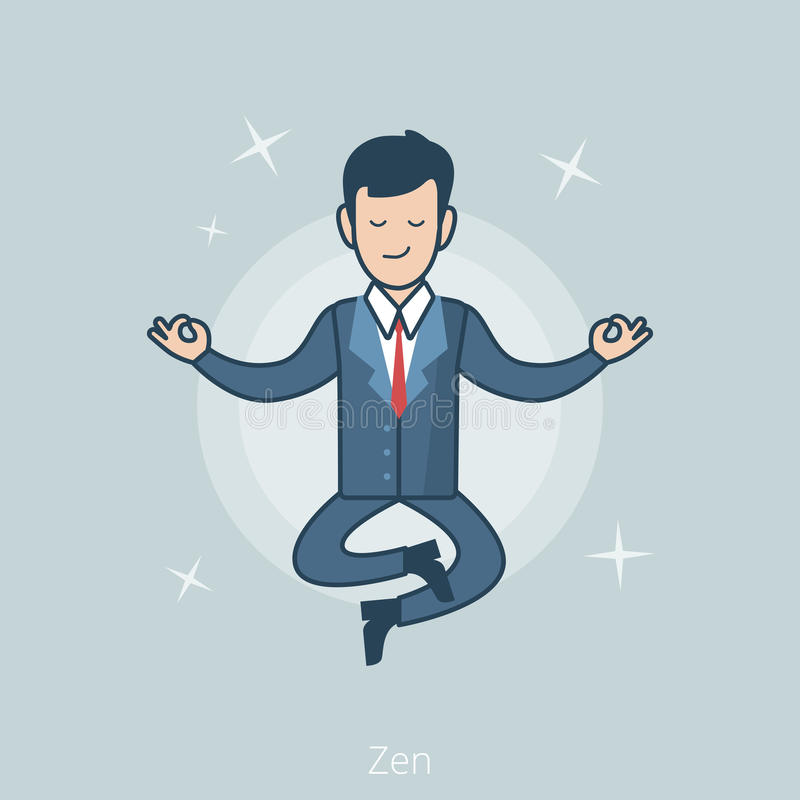 Линейный плоский бизнесмен levitate вектор представления Дзэн иллюстрация вектора